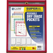 C-Line Assorted Reusable Dry Erase Pockets 10 Pk.
