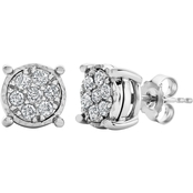 Sterling Silver 1/2 CTW Diamond Miracle Framed Stud Earrings