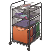 Safco Onyx Mesh Mobile File With Two Supply Drawers