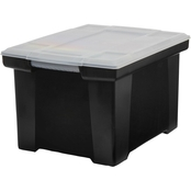 Storex Plastic File Tote Storage Box with Snap-On Lid