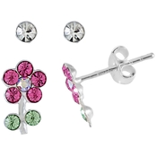 Sterling Silver Crystal Flower Round Stud Earrings Duo