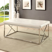 Furniture of America Mila Chrome Bench