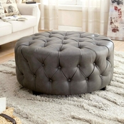 Furniture of America Latoya Tufted Round Bench