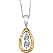 Sirena 14K Yellow and White Gold Diamond Accent Twist Pendant