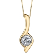 Sirena 14K Yellow and White Gold 1/4 Ct. Twist Pendant