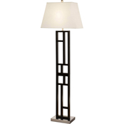 Artiva USA Perry 63 In. Geometric Black and Brushed Steel Floor Lamp
