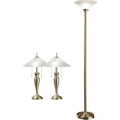Artiva USA Classic Coordinates 3 Pc. Brushed Steel Lamp Set.