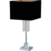 Artiva USA Adelyn 27 In. Square Chrome and Black Crystal Table Lamp