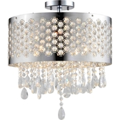 Artiva USA Catalyn 4-Light Chrome Crystal Flush Mount Chandelier
