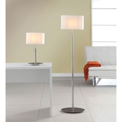 Artiva USA Audrey Slim Oval Brushed Steel 2 Pc. Lamp Set