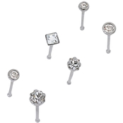 22G Clear Crystal Nose Stud 6 pk.