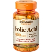 Sundown Naturals Folic Acid 800 mcg Tablets 100 Pk.