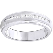 Expressions of Love 10K White Gold 1/10 CTW Diamond Wedding Band, Size 10.5