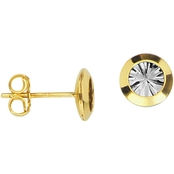 10K Two-Tone Gold Button Stud Earrings with Diamond-Cut Backwall