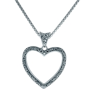 Robert Manse Designs Sterling Silver Bali Open Heart Pendant