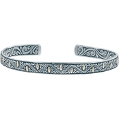 Robert Manse Designs Sterling Silver and 18K Gold Bali Filigree Cuff Bracelet
