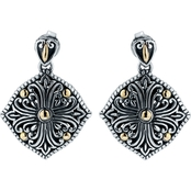 Robert Manse Designs Sterling Silver and 18K Gold Bali Regal Scrollwork Earrings