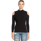 1.State Mock Neck Cold Shoulder Sweater