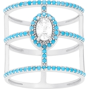 Sterling Silver Turquoise Cubic Zirconia Triple Strand Ring, Size 7