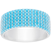 Sterling Silver Cubic Zirconia Turquoise Pave Thick Band Ring, Size 7