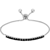 Sterling Silver Black Cubic Zirconia Adjustable Bracelet