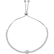 Sterling Silver Cubic Zirconia Adjustable Bracelet