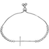 Sterling Silver Cubic Zirconia Adjustable Cross Bracelet
