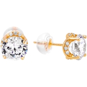 14K White Gold 1.8 CTW Round Simulated Diamond Fancy Gallery Stud Earrings