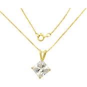 14K Yellow Gold 6mm Square Cubic Zirconia Pendant With Chain