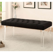 Furniture of America Mahoney Acrylic Bench, Black