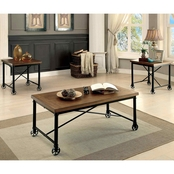 Furniture Of America Mclean Rolling Cocktail with End Tables 3 Pk.
