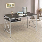 Furniture Of America Kuzenii Metal and Glass Desk