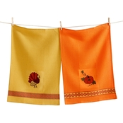TAG Thanksgiving Embroidered Waffle Weave Dishtowel Set of 2