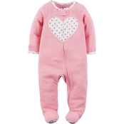 Carter's Infant Girls Pink Stripe Heart Sleep and Play