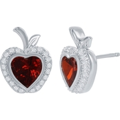 Disney Enchanted Sterling Silver 1/10 CTW Diamond and Lab Created Ruby Earrings
