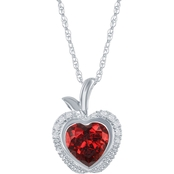 Disney Enchanted Sterling Silver 1/10 CTW Diamond and Lab Created Ruby Pendant