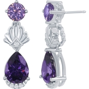 Disney Enchanted Sterling Silver Amethyst and White Topaz Ariel Shell Earrings