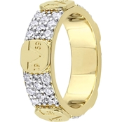 V19.69 Italia Gold Over Sterling Silver Cubic Zirconia Eternity Ring