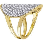 V19.69 Italia Gold Over Sterling Silver Cubic Zirconia Geometric Ring
