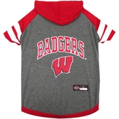Pets First NCAA Wisconsin Badgers Hoodie Tee Shirt