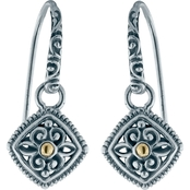 Robert Manse Designs Sterling Silver and 18K Gold Bali Scrollwork Dangle Earrings