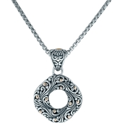 Robert Manse Designs Sterling Silver and 18K Gold Bali Swirling Scrollwork Pendant