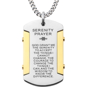 Stainless Steel and Gold Ion Plated Serenity Prayer Dog Tag Pendant