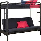 DHP Twin Over Futon Metal Bunk Bed