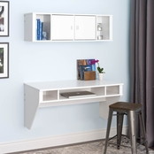 Prepac Designer Floating Desk and Hutch Set