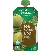 Plum Organics Second Blends Pear, Spinach and Pea Squeezable Pouch 4 oz.