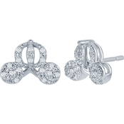 Disney Enchanted Sterling Silver 1/10 CTW Diamond Cinderella Carriage Earrings