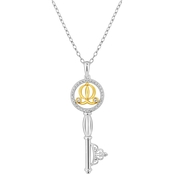 Disney Enchanted 10K Yellow Gold Over Sterling Silver 1/7 CTW Diamond Key Pendant