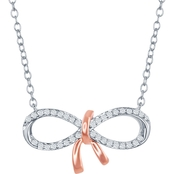 Disney Enchanted 10K Rose Gold Over Sterling Silver 1/10 CTW Diamond Bow Necklace