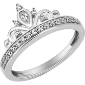 Disney Enchanted 10K White Gold 1/5 CTW Diamond Tiara Ring